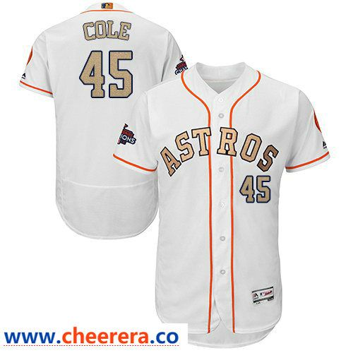 d0d65bfe9 Men s Houston Astros  45 Gerrit Cole White FlexBase Authentic 2018 Gold  Program Cool Base Stitched Baseball Jersey