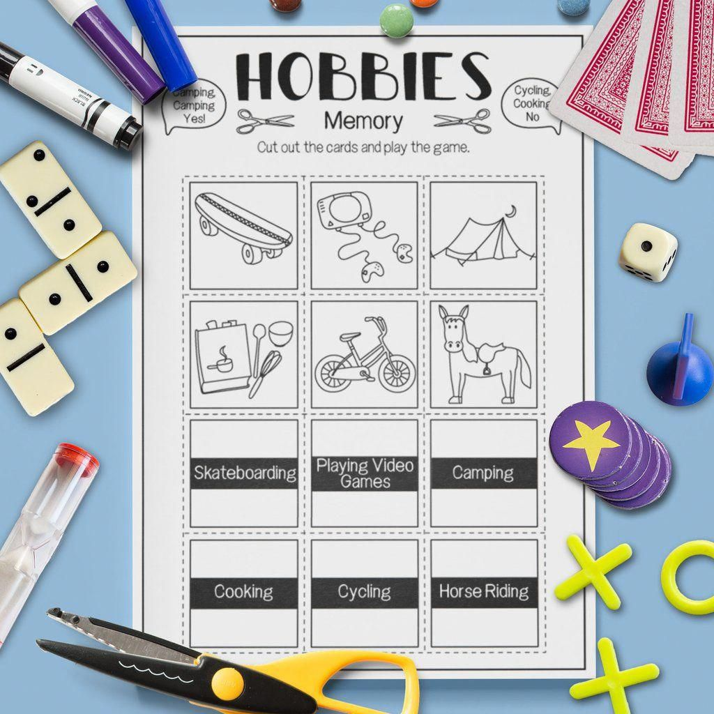 Esl Hobbies Memory Game Activity Worksheet Esl