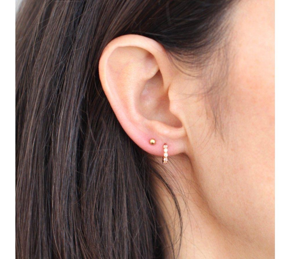 énorme réduction af575 90dc0 Mini créole diamant | Mini créole brillants or rose ou ...