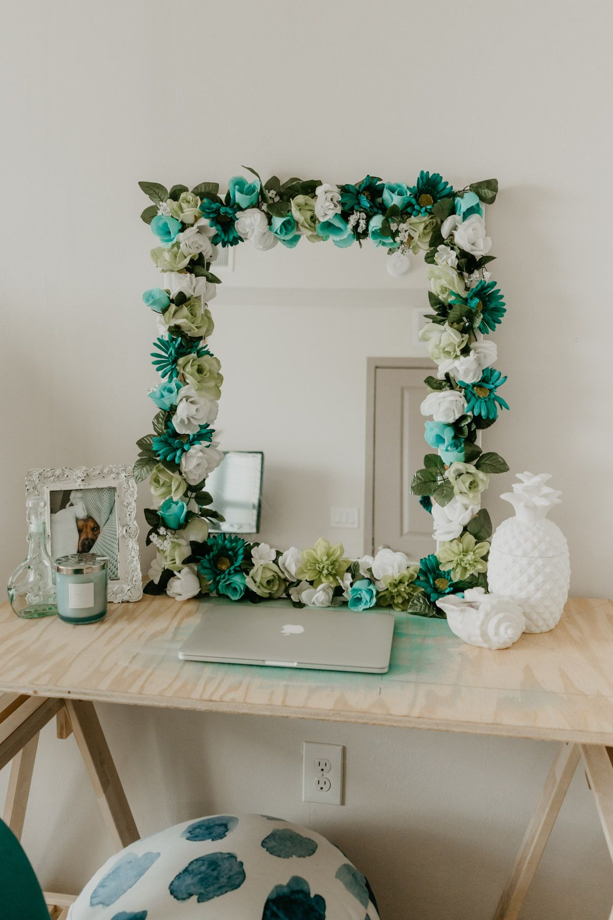 Diy flower mirror diy flower mirror flower mirror