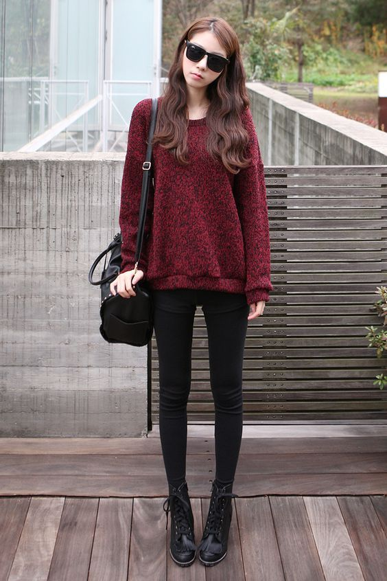 maroon pullover   black pants   black boots   black sling bag   ...