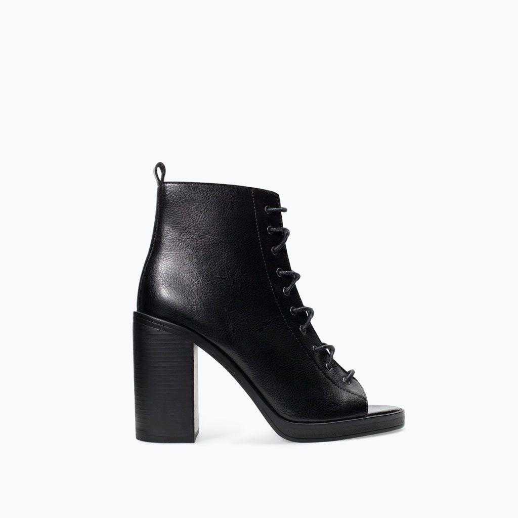 bottines À talon haut À bout ouvert de zara | souliers | pinterest