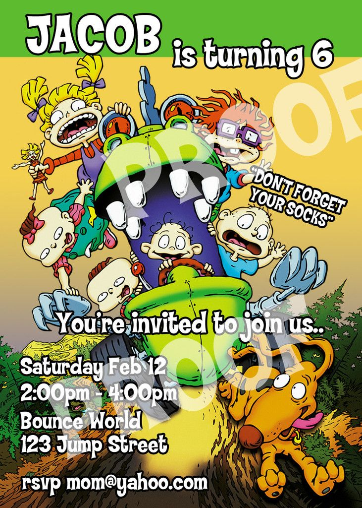 printable rugrats personalized birthday invitation size 5 inches