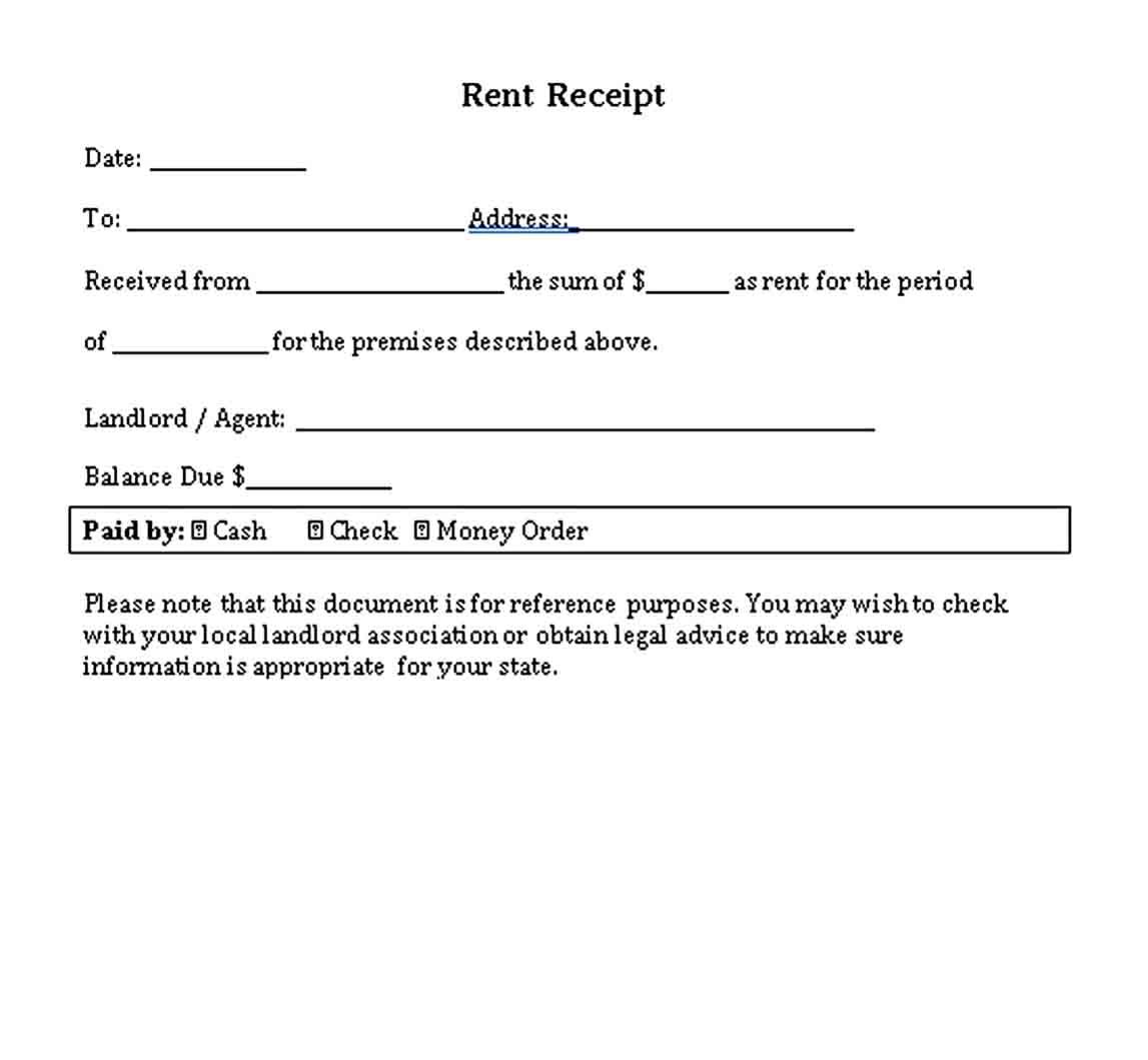 Rental Receipt Template Receipt Template Template Printable Being A Landlord