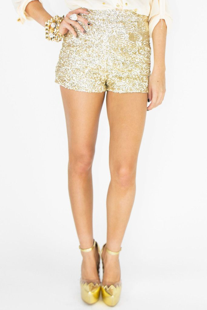 Haute & Rebellious - HIGH-WAISTED GOLD SEQUIN SHORTS | Deb's ...