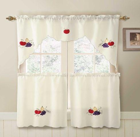 Fruits Ivory 3 PC Kitchen Curtain Set | Kitchen curtains, Accent ...