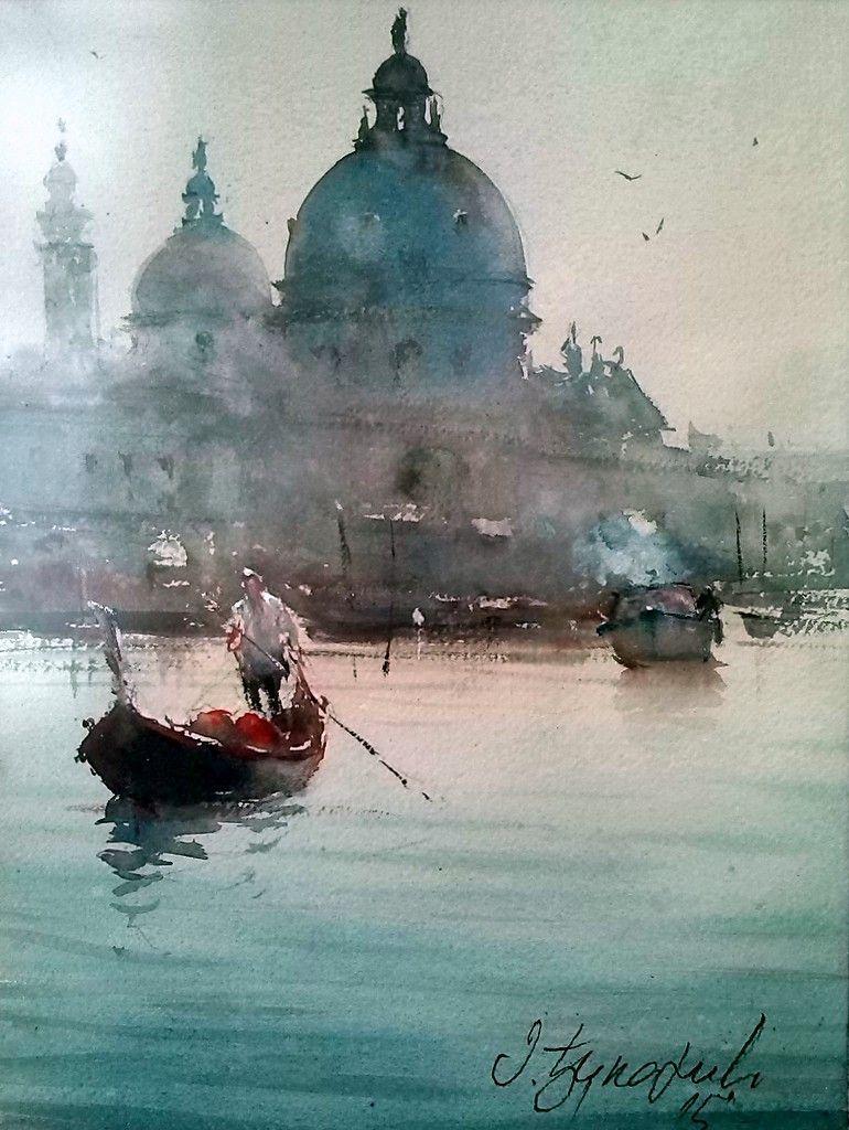 Fine watercolor art for sale - Dusan Djukaric Venice Gondola Watercolour 33x24cm