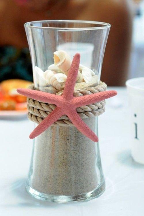 Idee Deco Marine Diy Petit Vase Mer Decoratie Doe Het Zelf Nautische Bruiloft Zelf Maken Decoratie