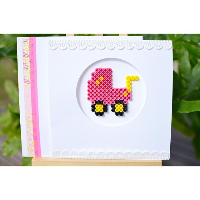Baby girl card perler beads by  mlvossen