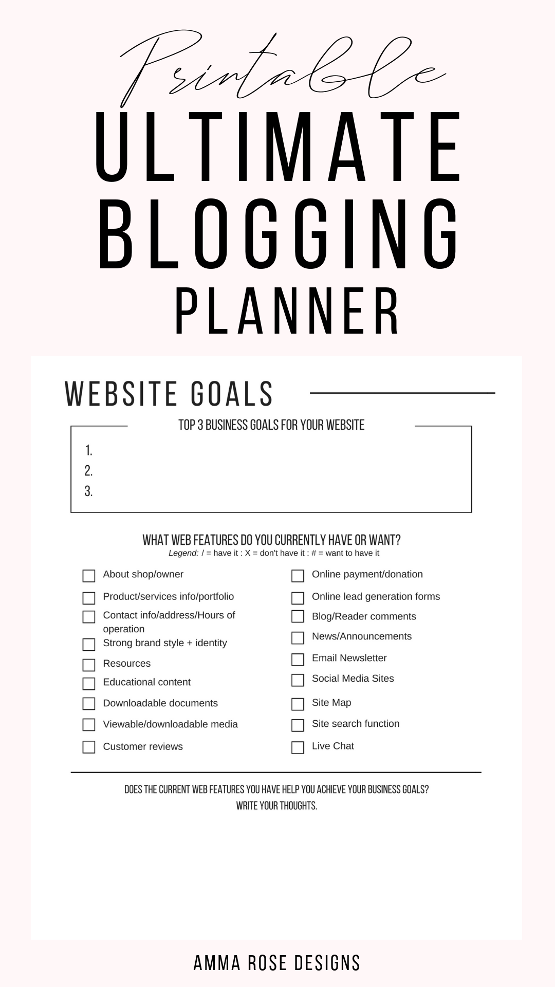 Printable Blog Workbook Blog Planner Blog Post Planner Business Planner Blog Organizer