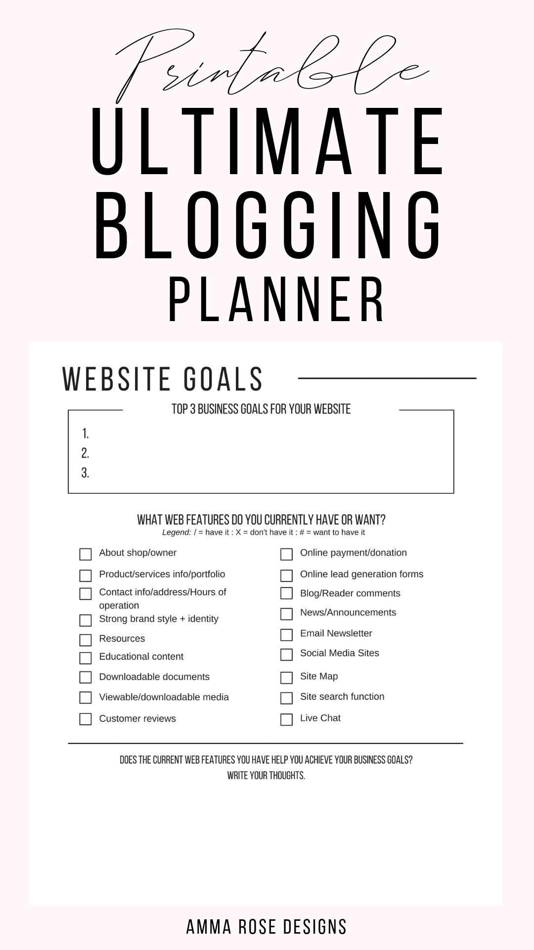 Printable Blog Workbook Blog Planner Blog Post Planner Business Planner Blog Organizer