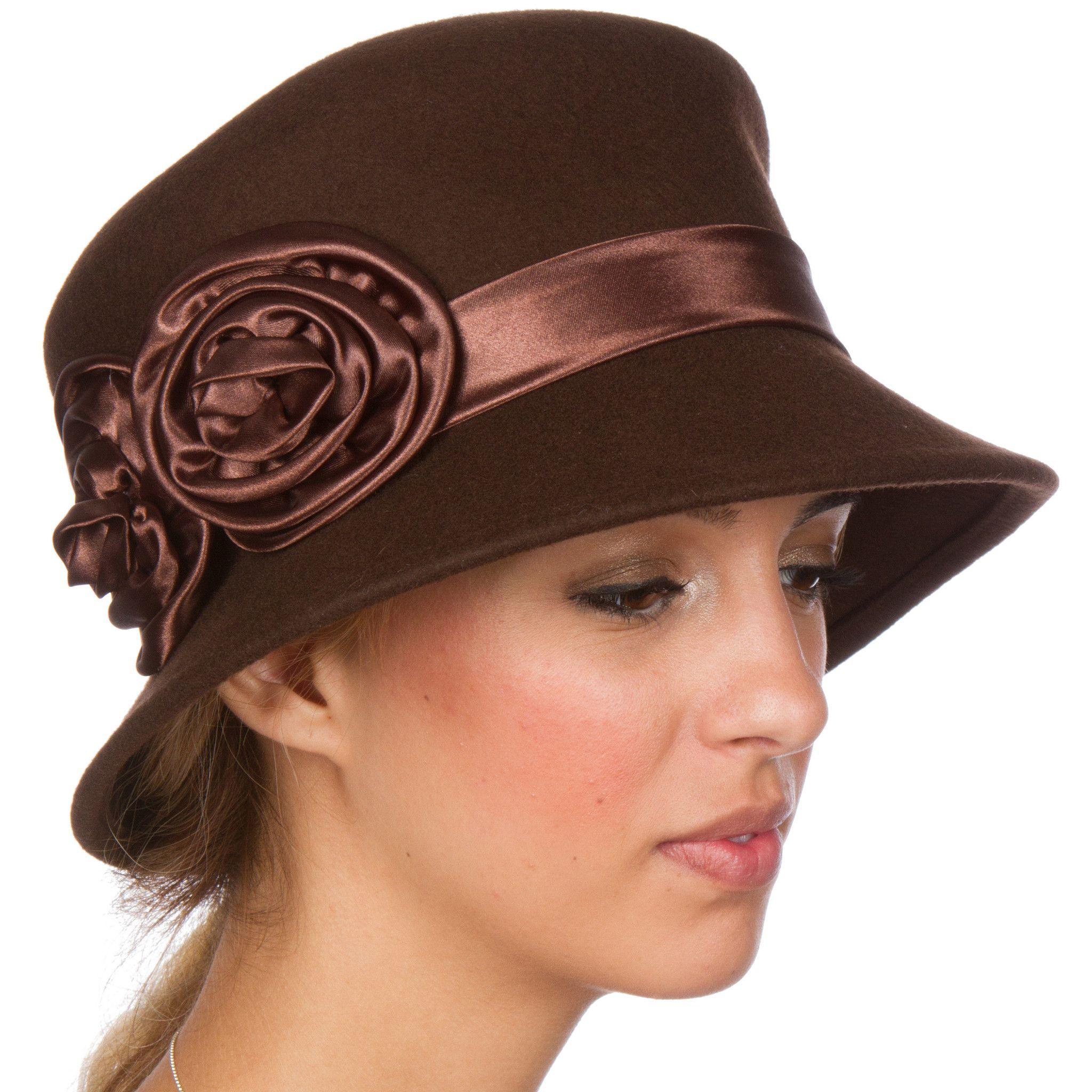 7b1883bc8f3 Sakkas Alice Satin Rose Vintage Style Wool Cloche Hat