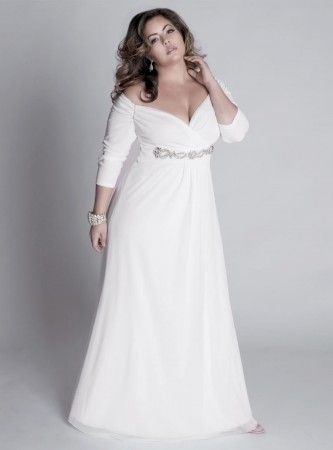 An Elegant Empire Waist White Plus Size Evening Dress With