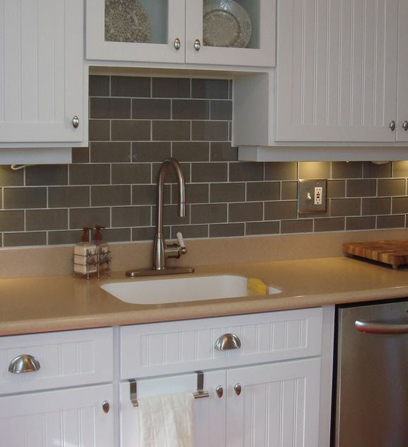 "Kitchen Backsplash Using Subway Tiles: Lush 3x6 River Rock - ""Greige"" Glass Subway Tile"