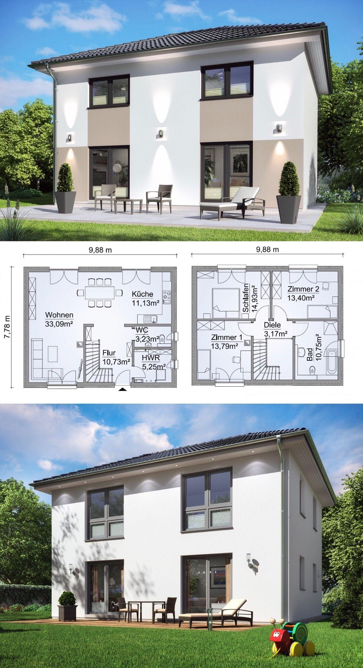 Small villa modern european style architecture design house plan  csh  variante    dream home ideas with open floor and storey layout by scanhaus also doppelhaus architektur mit walmdach  zimmer grundriss rh pinterest