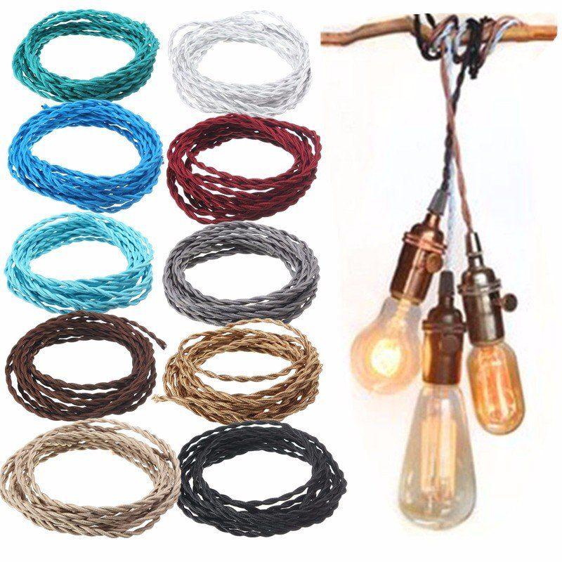 10M Vintage 2 Kern Twist Geflochtenes Kabel Draht Elektrisches Licht ...