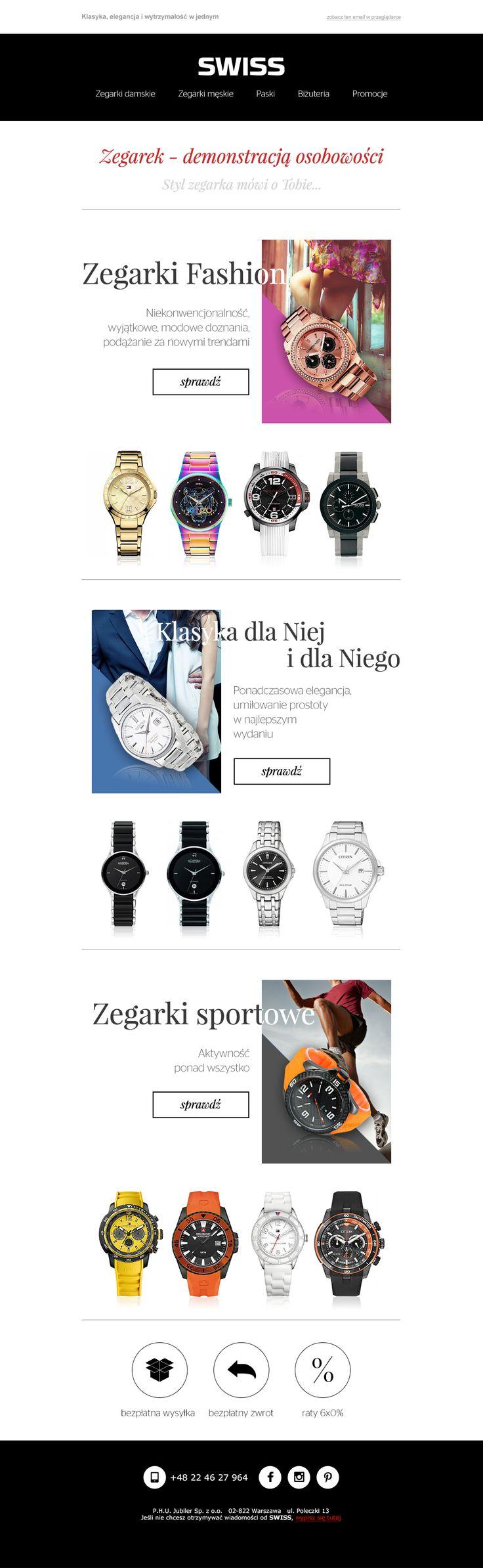"""""""Zegarek - demonstracją osobowości"""" - newsletter nawołujący do kupna zegarka pasującego do osobowości. Kampania cieszyła się bardzo dużym powodzeniem. #newsletter #swiss #template #ecommerce #email #watches"""