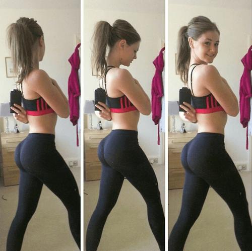 Brunette ass cheeks on knees