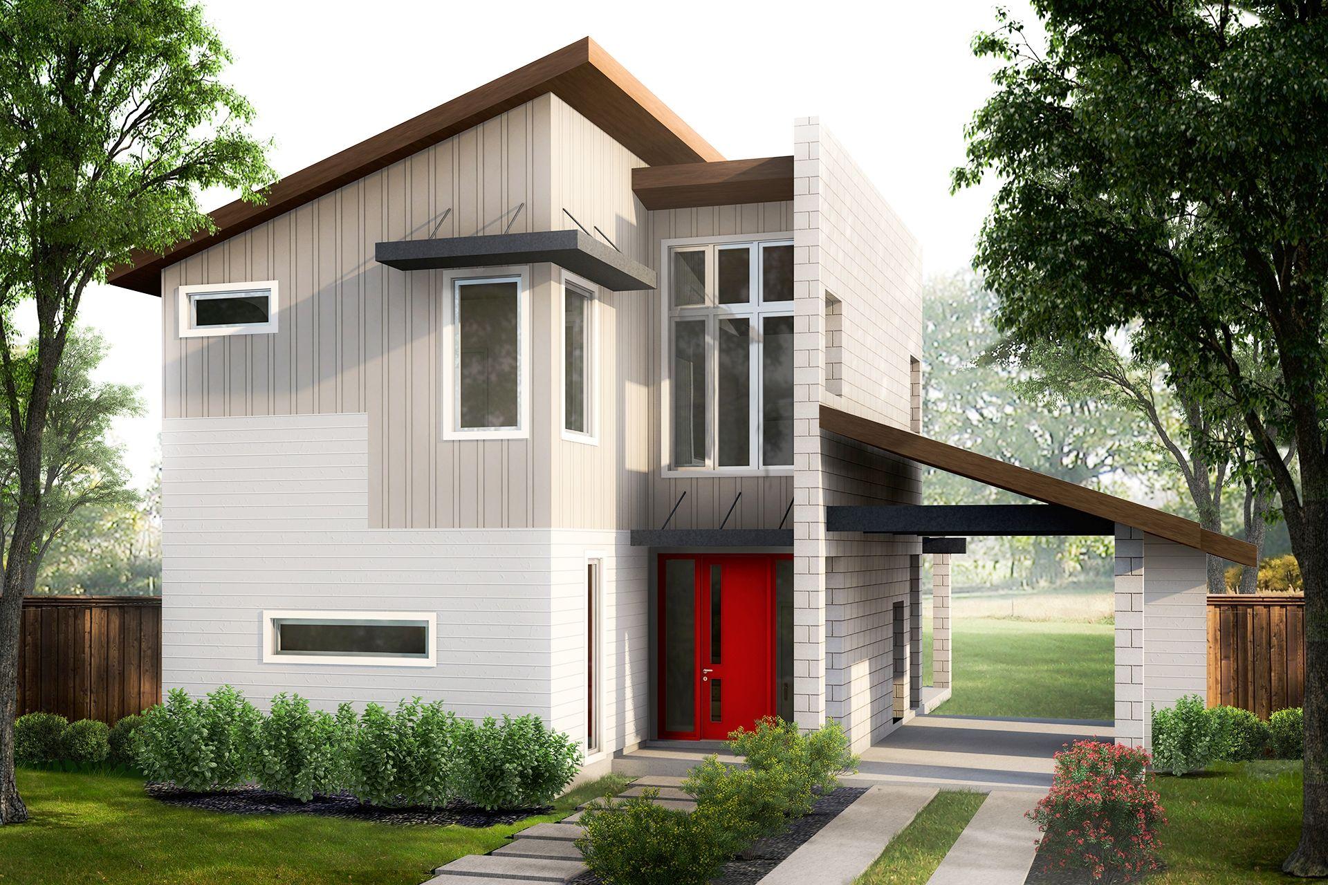кирпичный дом с односкатной крышей