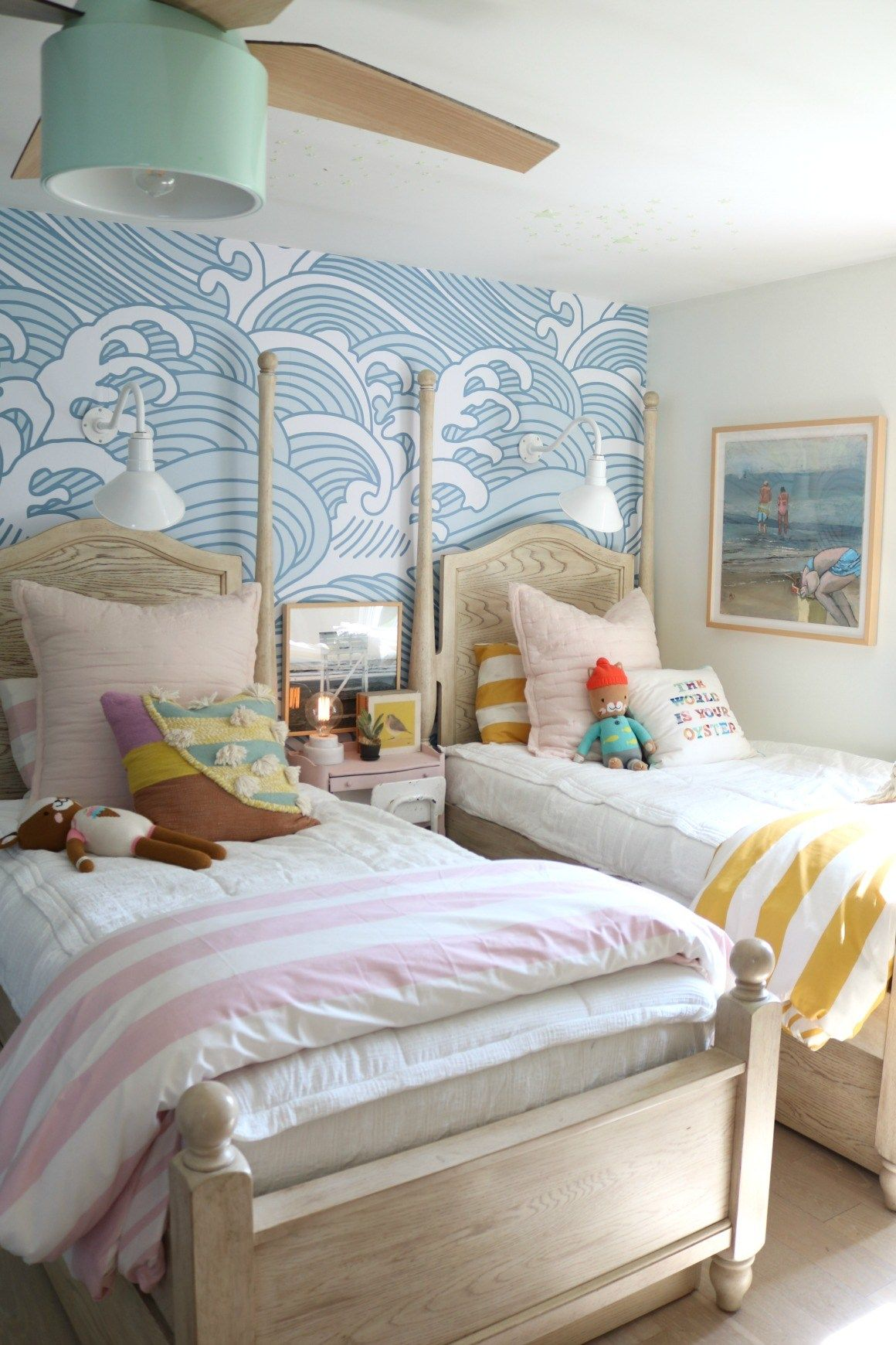 Girls Shared Bedroom NEW Blue Waves Wallpaper - Nesting With Grace
