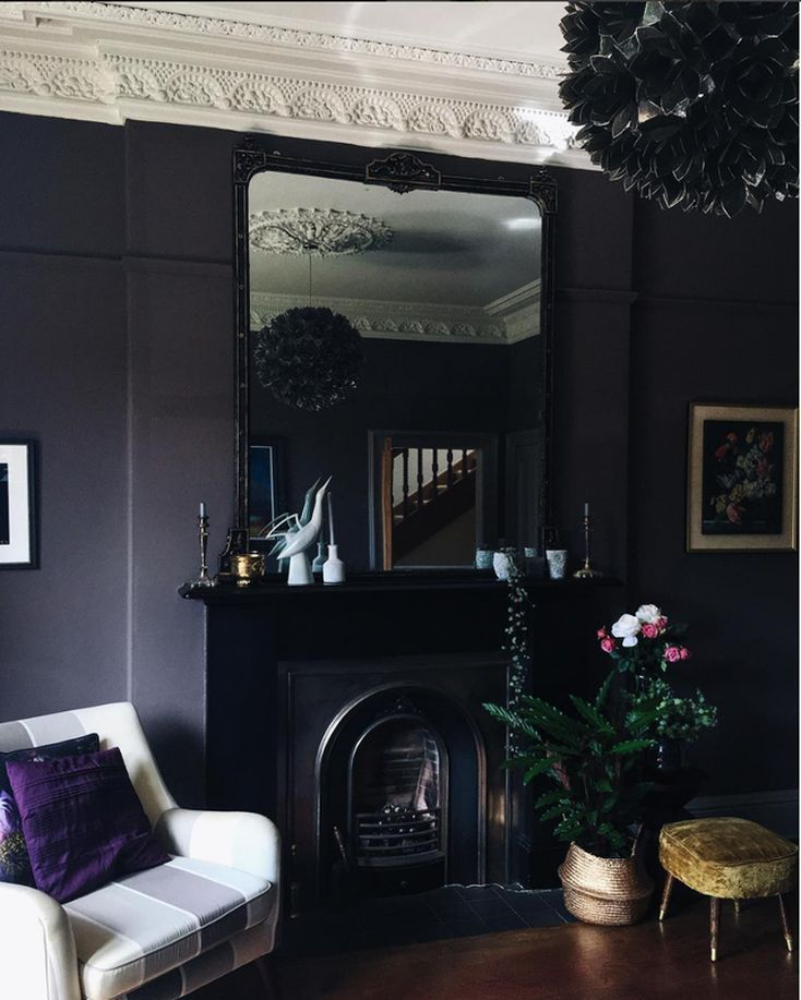 A Moody Victorian Room In Shades Of Deep Purple And Black From Around Houses For The Novem Black Furniture Living Room Black Living Room Victorian Living Room