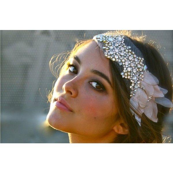 beaded bohemian bride wedding headband ❤ liked on Polyvore