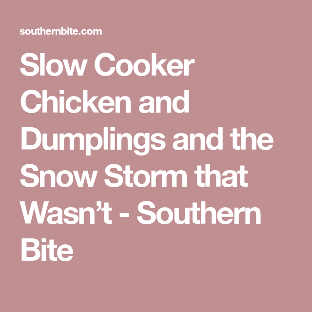 Slow Cooker Chicken and Dumplings and the Snow Storm that Wasn't - Southern Bite
