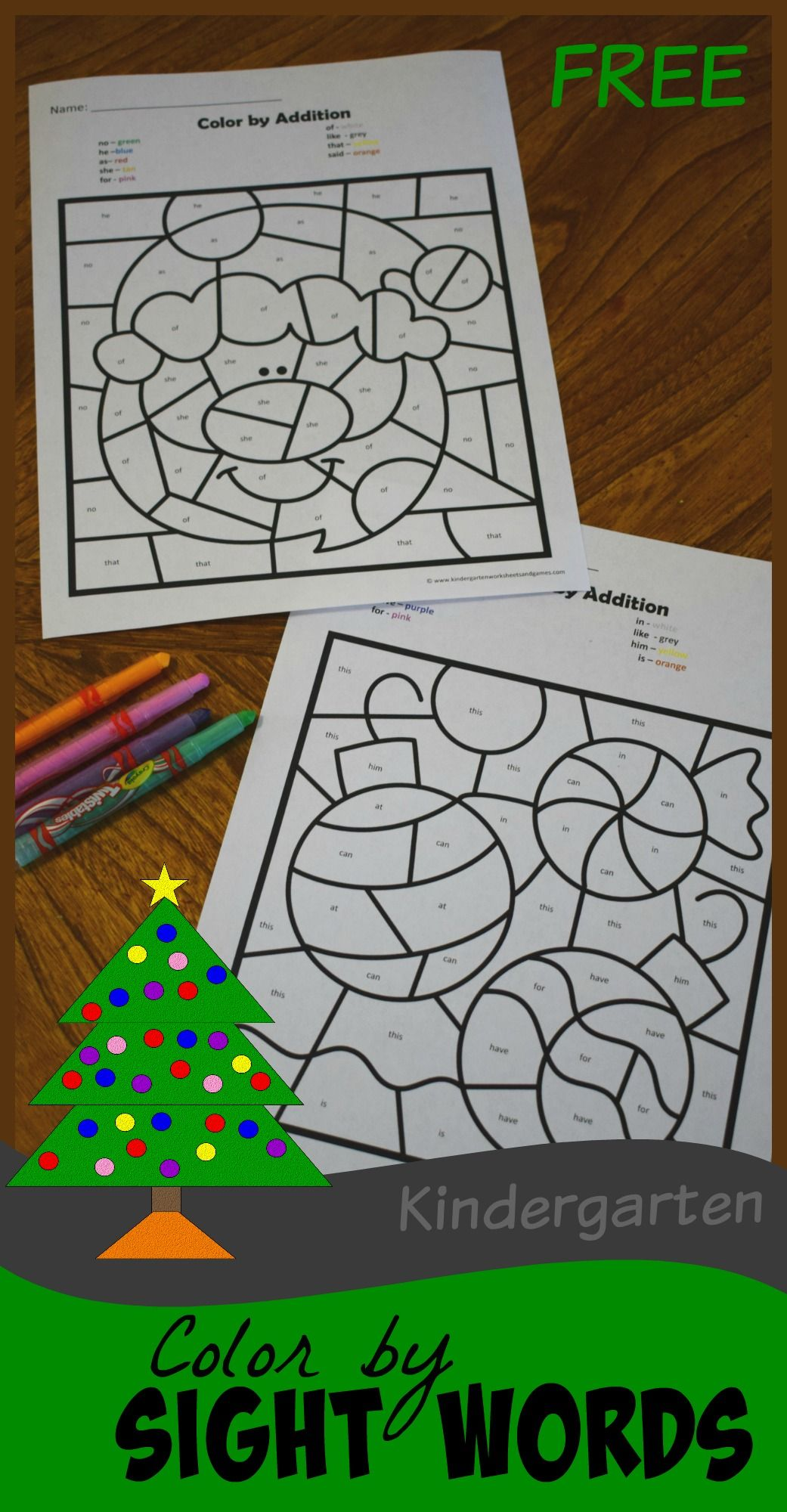 Free Christmas Color By Kindergarten Sight Words Is Such A