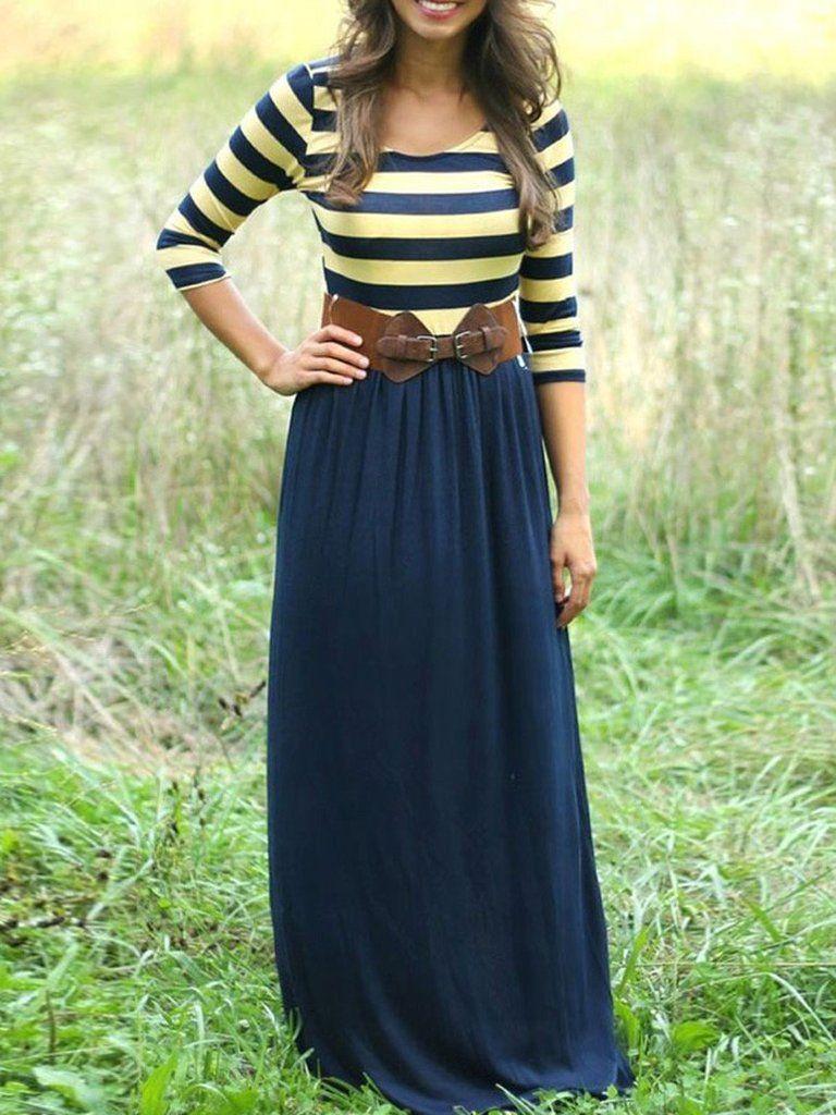 Navy contrast stripe print sleeve boho maxi dress outfits