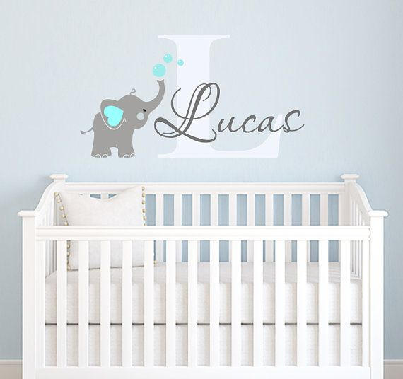 Name Wall Decal Elephant Elephants By Paradisedecals Baby Boy Nursery