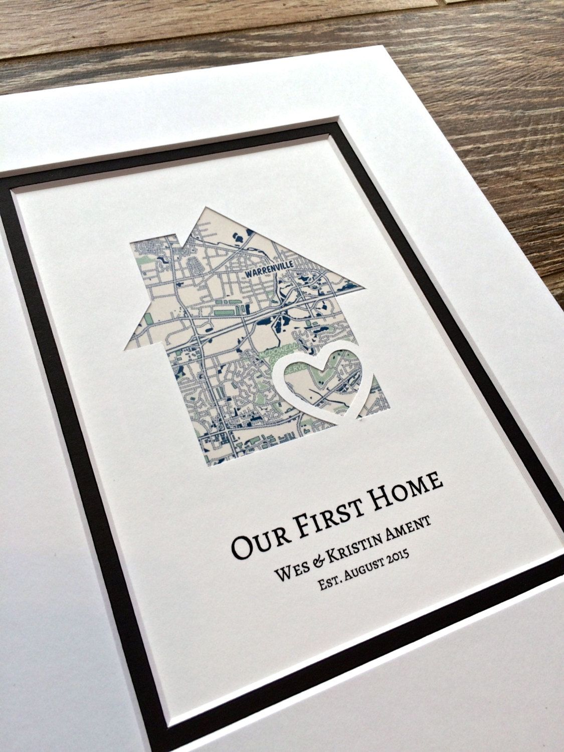 Our First Home- Personalized Home Map Matted Gift- First Home Gift ...