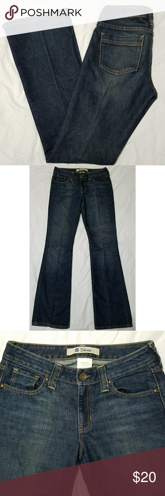 """Gap Curvy Low Rise Flare Jeans Long Inseam Women's Gap Curvy Low Rise flare jeans, size 6 long. They are in excellent used condition with no stains, tears, rips or holes that I can see.  80% cotton/20% polyester   Waist: 30"""" Inseam: 35"""" Outseam: 44"""" Front rise: 8.5"""" Back rise: 14"""" Hips: 39"""" Leg opening: 19""""  All items come from a smoke and pet free home. GAP Jeans Flare & Wide Leg"""