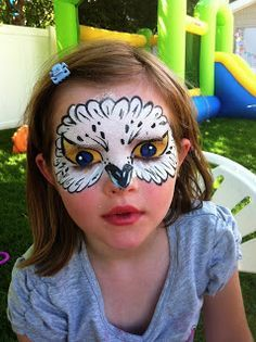 easy owl face paint - like how the eyes cover the eyelids