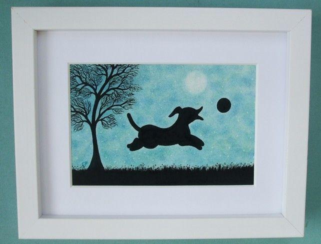 #Dog #Picture, #Framed Dog #Print, Dog# Gift, #Dog Art, Children Gift Puppy, Black Dog £15.00