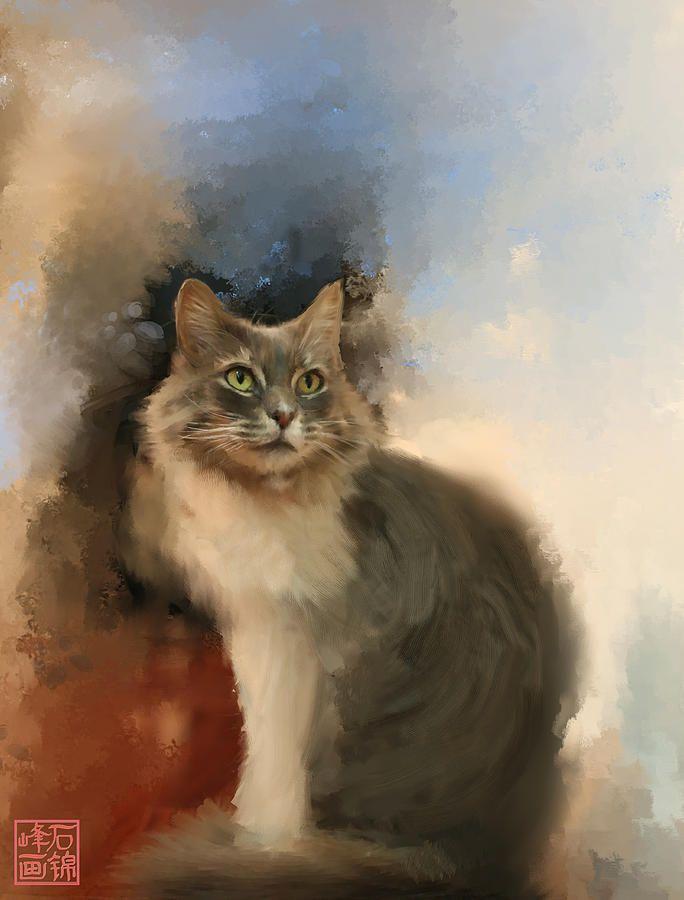 Cat Digital Art - Взгляд на Jinfeng Shi