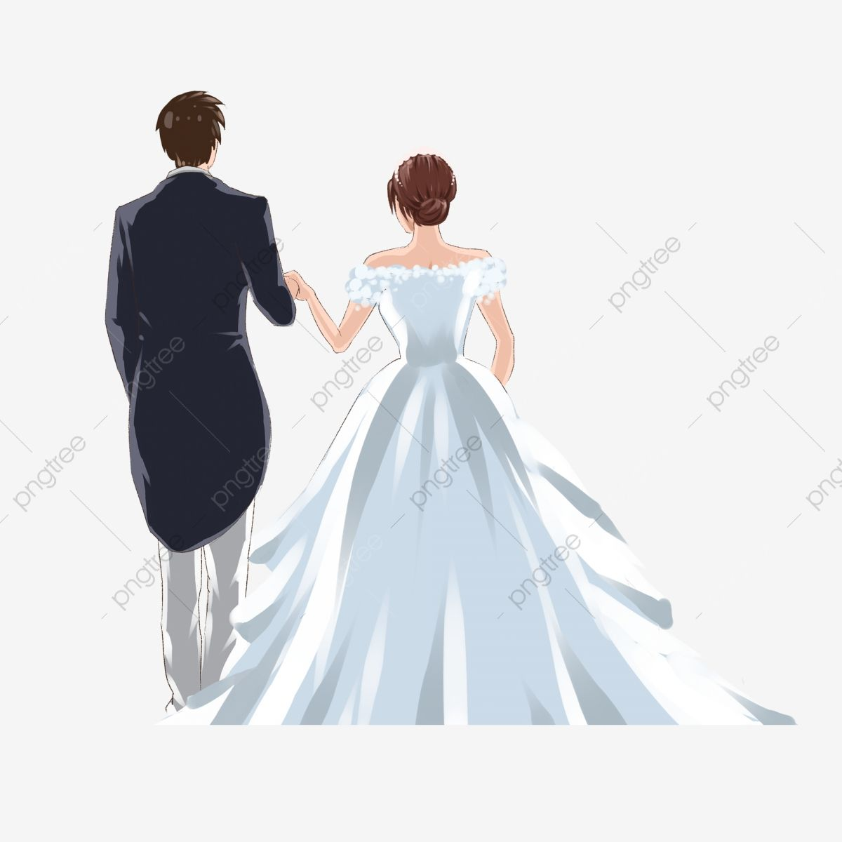 Back View Of Couple In Wedding Dress Holding Hands Bride Clipart Wearing A Dress Holding Hands Png Transparent Clipart Image And Psd File For Free Download Invitaciones Dibujos
