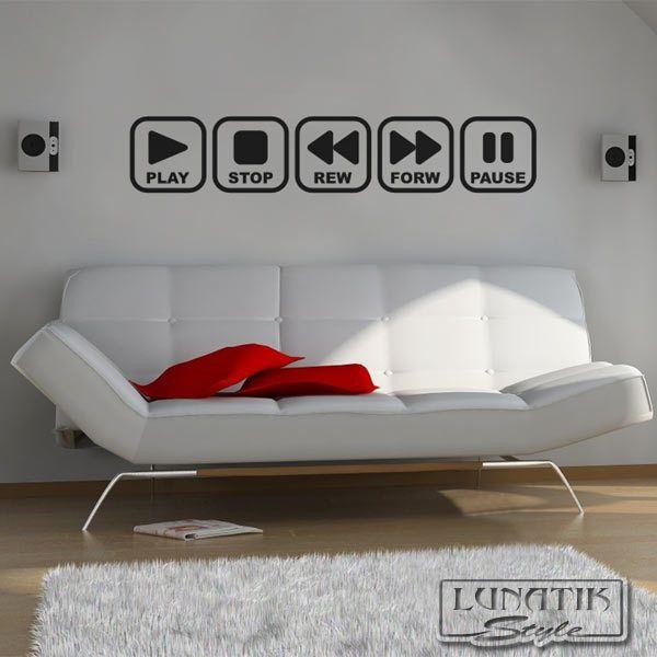 Wandtattoo Tasten Play Stop Pause Retro - WA30 Wandtattoos - wandtattoo wohnzimmer retro