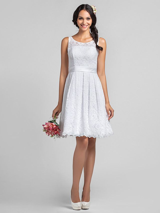 White Knee Length Lace Wedding Dress