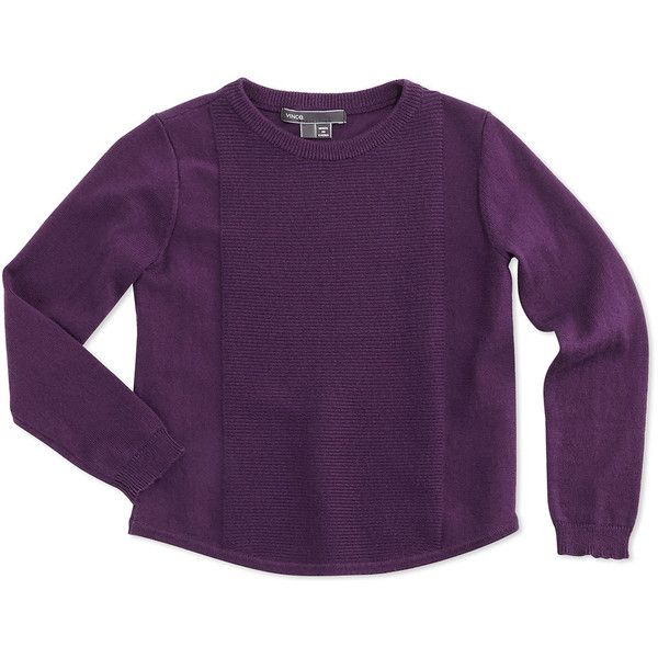 Vince Cotton Rack-Stitched Pullover Sweater ($58) ❤ liked on Polyvore featuring tops, sweaters and purple