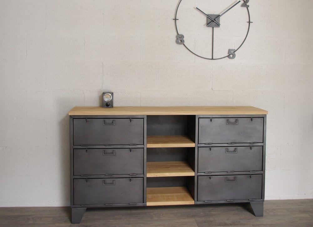 Meuble tv industriel buffet sur mesure 2 cr ation restauration de meuble industriel en - Restauration meuble industriel ...