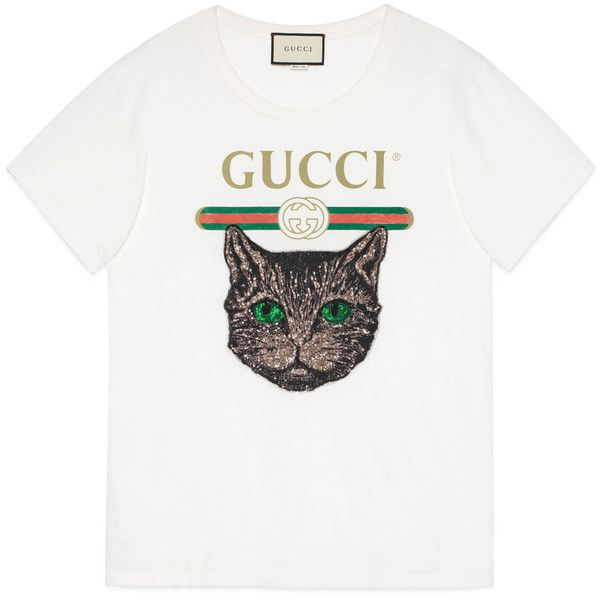 1222fee01 Gucci Gucci Logo T-Shirt With Mystic Cat ($860) ❤ liked on Polyvore  featuring tops, t-shirts, ready-to-wear, sweatshirts & t-shirts, women,  white t shirt, ...