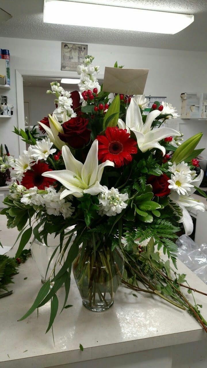 Red and white, 85.00 Flower arrangements, Flower vases