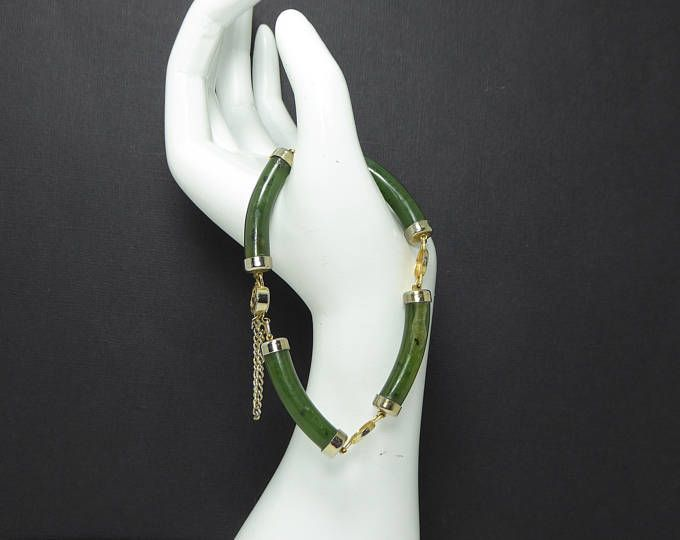 Green Jade Link Bracelet - Gold Tone End Caps and Connecting Links, Asian  Inspired Gemstone Jewelry - Vintage 1960's 1970's
