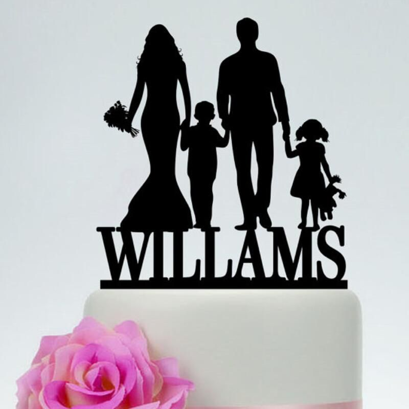 Custom Family Wedding Cake Topper with Bride and Groom Silhouette ...