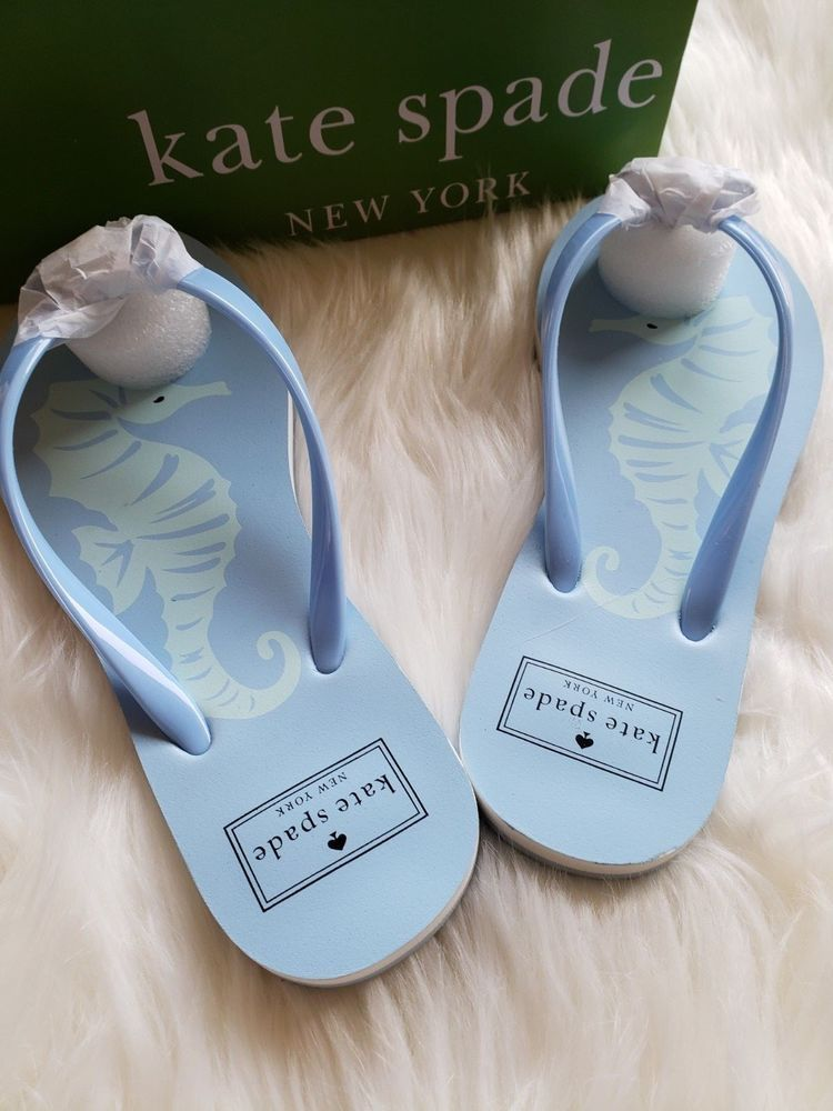 fdfdfcfc2 KATE SPADE Flip Flops Sandals Bow Multi Color Blue Seahorse Print Sz 6 New  W Box
