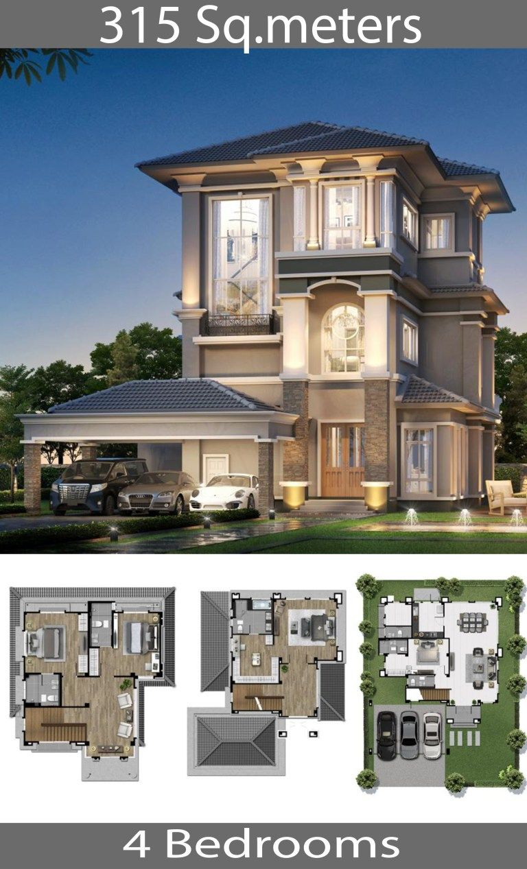 315 Square Meters Home 4 Bedrooms Home Ideas Cool House Designs House Floor Plans Home Design Plans