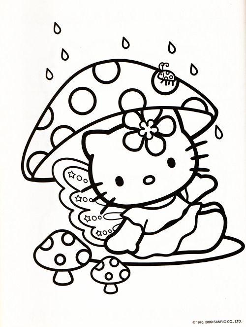 hello kitty mushroom coloring sheet - Free Printable Mushroom Coloring Pages
