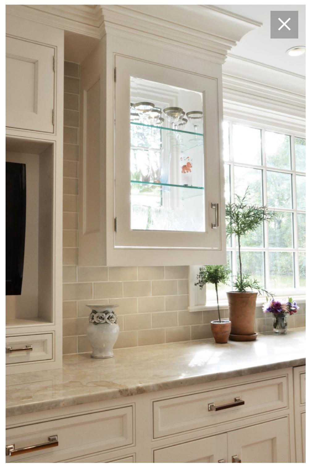 Love The Combination Of Backsplash And Soprano Countertop Kitchen Cabinets Decor White