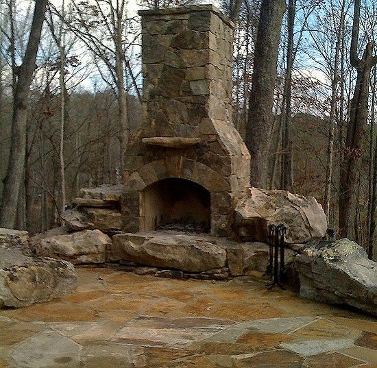 Beautiful Rustic Outdoor Fireplace Design Ideas 687: Rustic! Need This Outside Of A Log Home
