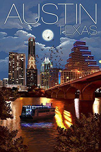 Austin Texas Skyline At Night 16x24 Giclee Gallery Print Wall